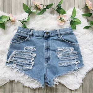 Vintage Distressed High Waisted Shorts Sexy Cotton